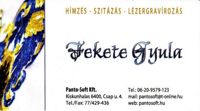 Panto-Soft Kft. Hímzés-Szitázás-Lézergravírozás