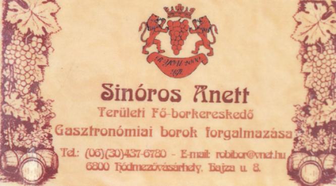 Sinóros Anett borkereskedő
