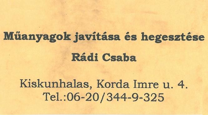 Műanyag hegesztés Rádi Csaba