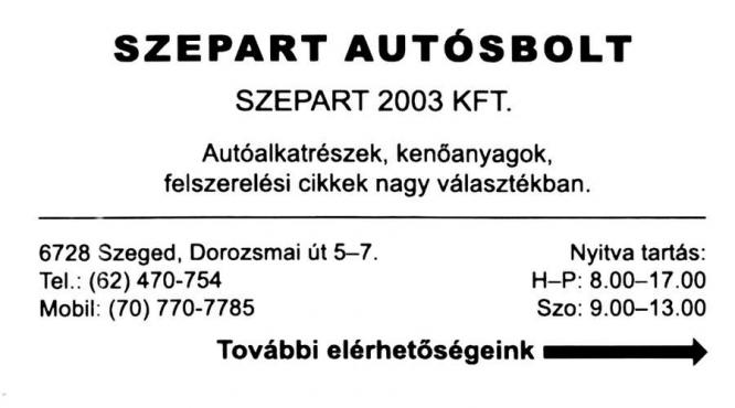 Szepart Autóalkatrész Szeged