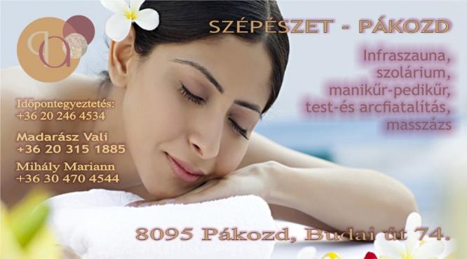 Infraszauna, szolárium, manikűr-pedikűr, test-és arcfiatalítás, masszázs Pákozd Petrovszki Zoltán