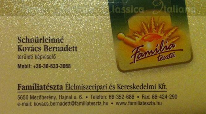 Famíliatészta Élelmiszeripari és Kereskedelmi Kft tészta készítés
