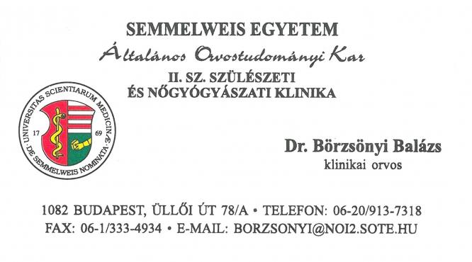 Dr. Börzsönyi Balázs Klinikai Orvos