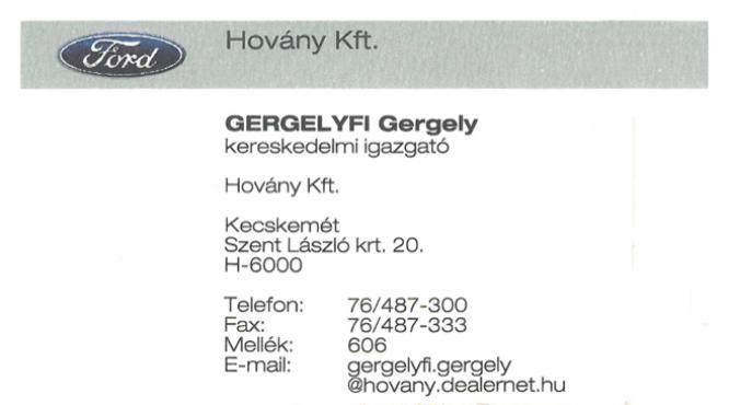 Ford Hovány Gergelyfi Gergely