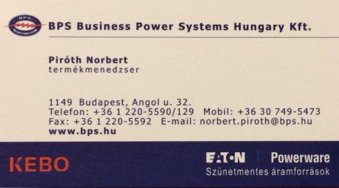 Szünetmentes áramforrások BPS Hungary Kft