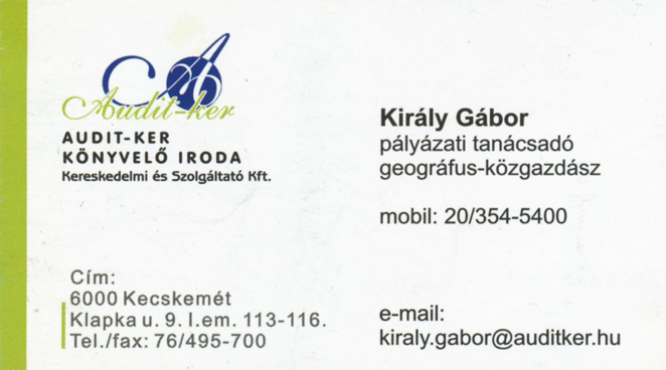 Audit-ker Király Gábor Könyvelői Iroda