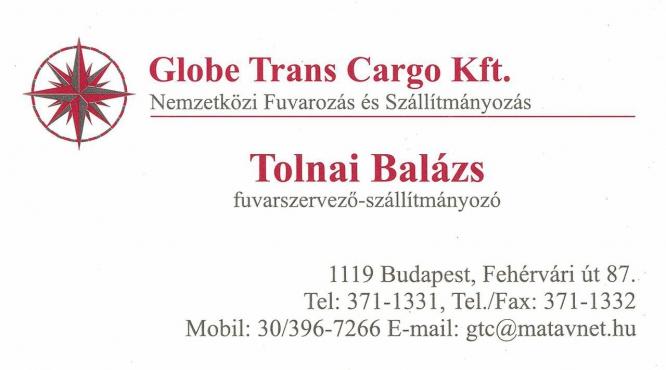Globe Trans Cargo Nemzetközi Fuvarozás és Szállítmányozás Tolnai Balázs